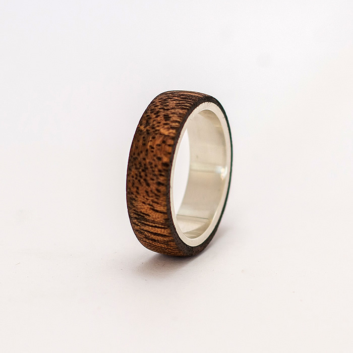 Mens Wood Wedding Bands South Africa: Mahogany With Silver Sleeve
