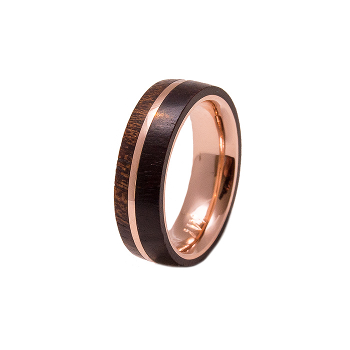 Rose Gold And Wood Ring